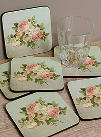 Pimpernel Glasuntesetzer - ANTIQUE ROSE - Coasters