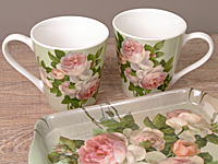 Pimpernel Mug & Tray Set - ANTIQUE ROSE - Geschenkset