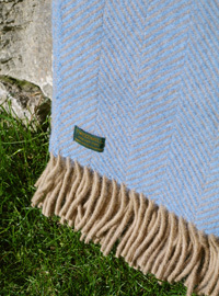 Wolldecke - LIFESTYLE PLAID - Herringbone Sea Blue & Wheat