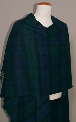 Poncho Lambswool - BLACK WATCH - Bronte Tweeds