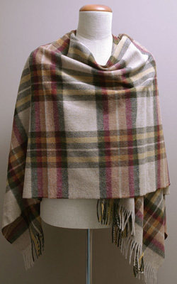 Poncho MINI - Lambswool - RIPON OLIVE Check - Bronte Tweeds