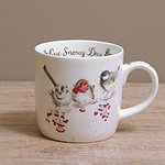 Wrendale Becher - ONE SNOWY DAY - Designs Singvögel