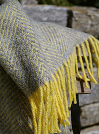 Wolldecke - LIFESTYLE PLAID - Herringbone Lemon & Silvergrey