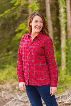 Flanellbluse mit Fleecefutter - RED TARTAN - Lee Valley