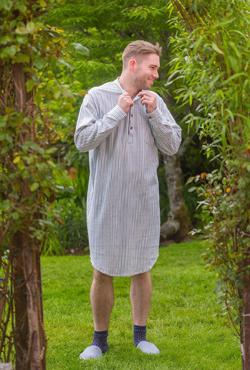 Flanell Nightshirt - BLUE STRIPE - Lee Valley Nachthemd