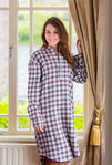 Flanell Nightshirt - MAROON CHECK - Lee Valley Nachthemd