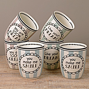 Becher 6er Set ohne Henkel Great ~ Dream ~ Smile - Keramik von Madleys