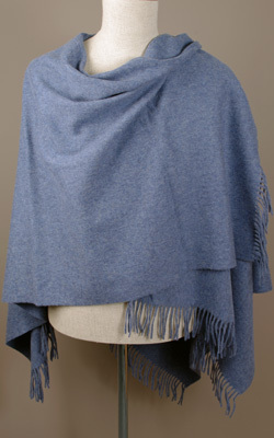 Poncho MINI - Lambswool - AIRFORCE BLUE - Bronte Tweeds