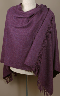 Poncho MINI - Lambswool - PURPLE HEATHER - Bronte Tweeds